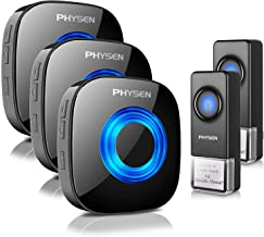 Physen Model CW Waterproof Wireless Doorbell kit with 2 Buttons and 3 Plugin Receivers,Operating at 1000 feet Long Range,4...