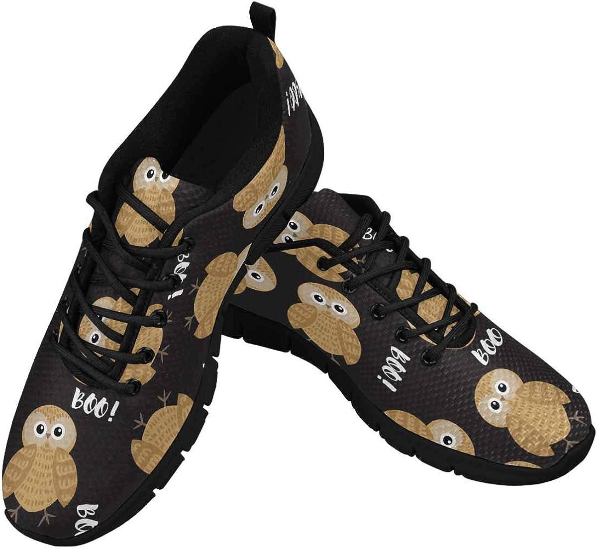 INTERESTPRINT Halloween Owl Boo Women's Breathable Comfort Mesh Fashion Sneakers