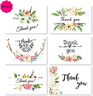 (48 Pack) Thank You Cards Set Blank Inside with Envelopes Bulk Pack of Notes Perfect for Baby Shower Wedding bridal shower Birthday Party (Floral 04 6style 48pcs)