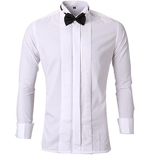 4cb892567 Harrms Mens Dress Shirt Slim Fit with Bow Tie & Cufflinks Long Sleeves  Button Shirts Costumes