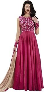 INMONARCH Womens Magenta Handloom Silk Anarkali Suit SLRD1032B