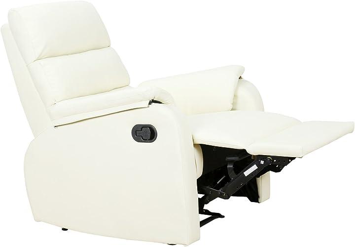 Poltrona relax reclinabile homcom manuale similpelle 75 × 92 × 99cm crema IT833-386WT0631