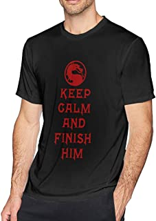 NCNET Men's Big Tall T-Shirt Printed Keep Calm and Finish Him Crewneck Athletic Short Sleeve for Youth Adult S-6XL