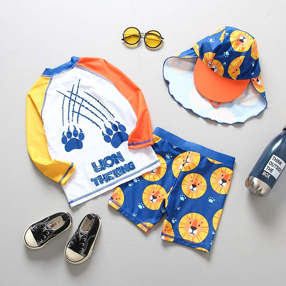 Baby Boys 3-Piece Shark Rashguard and Trunk Toddlers Swimming//Bathing//Surfing Suit with Hat UPF 50+