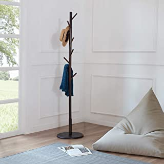 LOHO Wooden Coat Rack Hat Stand 8 Hooks Clothes Scarves Rack Hanger Storage Organizer Standing Hall Tree (Coffee)