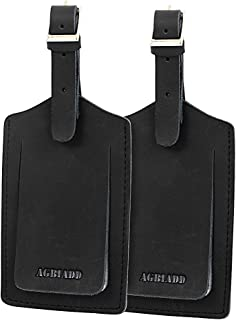 Genuine Leather Luggage Tags & Bag Tags 2 pieces Set (Black)