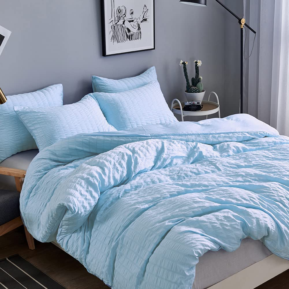 2 Piece Bedding Seersucker Duvet Cover Solid Quality inspection Luxury B Trust Sets Hotel