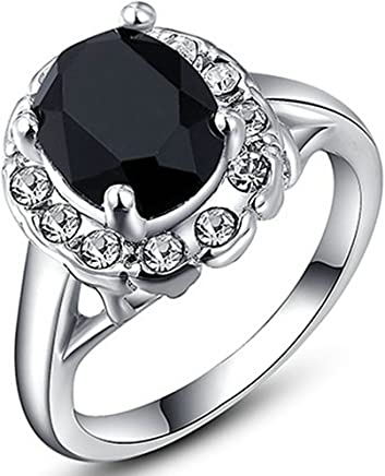 Epinki Wedding Ring for Women Girls Gold Plated Women Wedding Bands Colorful Austrian Crystal Black Diamond Ring