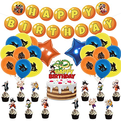 Dragon Ball Birthday Party Supplies,Anime Dragon Ball Party Banner, Balloon, Cake Decoration Dragon Ball Theme Party Decoration