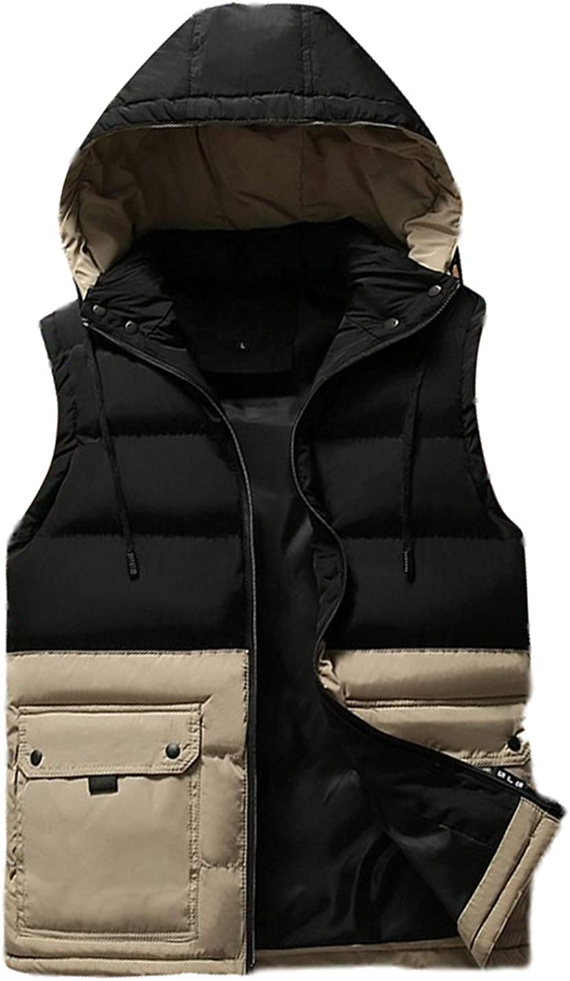 Uaneo Mens Casual Slim Sleeveless Colorblock Max 88% OFF Zipper Inexpensive Padd Quilted
