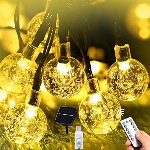 Solar Lichterkette Außen-11M 60er LED Aussen Solar Lichterkette Kristall Kugeln USB Lichterkette Innen 8 Modi IP65 Wasserdicht für Garten, Terrasse, Veranda, Weihnachten, Hochzeiten,Partys usw