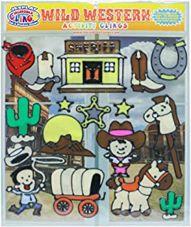 Wild West Window Gel Clings – Reusable Flexible Window Clings for Kids and Toddlers - Incredible Gel Decals of The Wild West, Cowboys, Cowgirl, Horse, Saddle, Sheriff, Cactus, Sunset, Badge and More