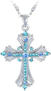 Cross Necklace Blue /& Brown Crystal Rhinestone Studded