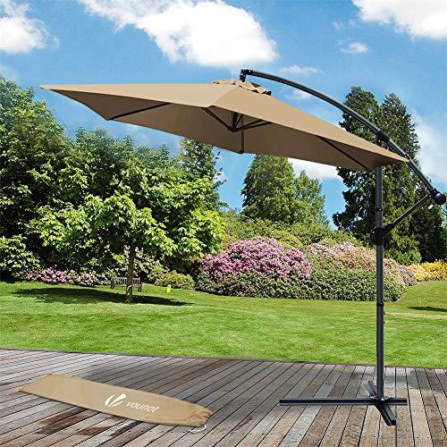 VOUNOT Ampelschirm 300 cm, Sonnenschirm mit Kurbelvorrichtung, Kurbelschirm mit Schutzhülle, Sonnenschutz UV-Schutz, Khaki