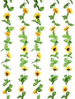 UUPP 2Pcs 8.5FT Artificial Sunflower Garland Silk Fake Flower Ivy Vines for Home Hotel Office Garden Wedding Party Outside Decoration