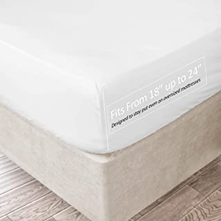 Clara Clark 21 Inch Deep Pocket Fitted Sheet 100% Soft Double Brushed Microfiber, Queen, White