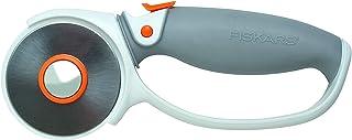 Fiskars Cutter rotatif à Poignée Softgrip, Revêtement en titane, Ø 60 mm, Pour droitiers et gauchers, Orange/Blanc/Gris, 1...