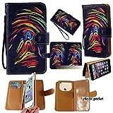 Universal PU Leder Geldbörse/Clutch/Tasche/Etui passend für Apple Samsung LG Motorola etc. Damen Cute Wristlet Strap Flip Hülle Rainbow Daumen Print Lack–mittelgroß. Passend für die Modelle unten: