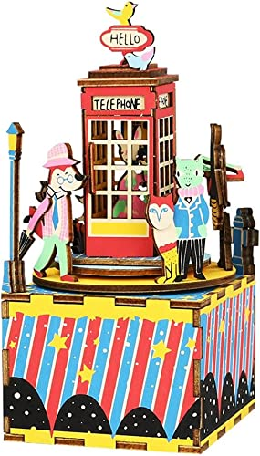 barato y de moda OJ OJ OJ DIY Caja de música Ornamentos de los Artes Caja de música giratoria Cabina de teléfono Manual decoración casera Regalos creativos  punto de venta