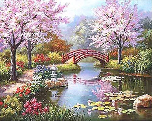 Kit de pintura por números, Amiiba Cherry Blossom Trees Bridge Lake 40,6 x 50,8 cm, pintura acrílica por número, arte de pared (flor de cerezo, con marco)