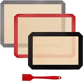 Silicone Baking Mat Set, Half Sheets Cooking Macaron Pastry Mats, Non-Stick Large Liner 11 5/8 ×16 1/2