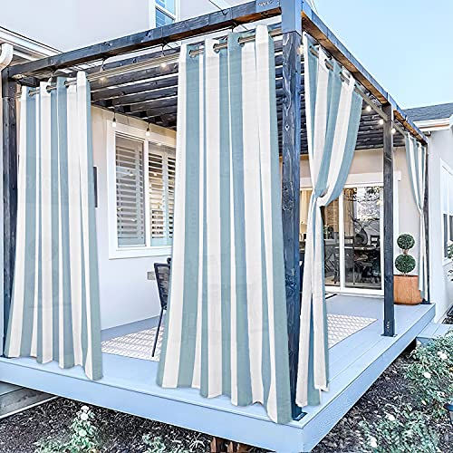 SHEEROOM Striped Outdoor Sheer Curtain for Patio Waterproof Curtains for Balcony, Pool, Patio, Pergola, Porch and Cabana, Linen Look Grommet Sheer Drapes,2 Panels,52x84 inch,Teal