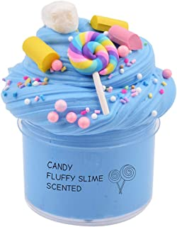 GoodGoodStudy--Blue Butter Birthday Contton Candy Slime, Non-Sticky Floam Slime Stress Relief Toy Scented DIY Putty Sludge Toy for Girls and Boys(7oz) 200ML