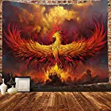 Simsant Red Anime Animal Hippie Tapestry Elegant The Secular Bird Attack Wall Hanging Decoration Soft Fabric Psychedelic Tapestry Dorm Living Room Bedroom Home Landscape Decor (80