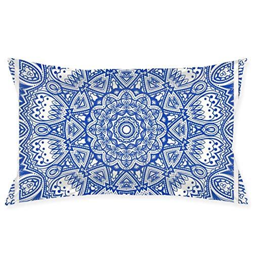 gong Funda de Almohada 20'X 30' Fundas de Almohada Funda de cojín estándar Mandala Azul, Funda de Almohada para decoración de sofá Dormitor