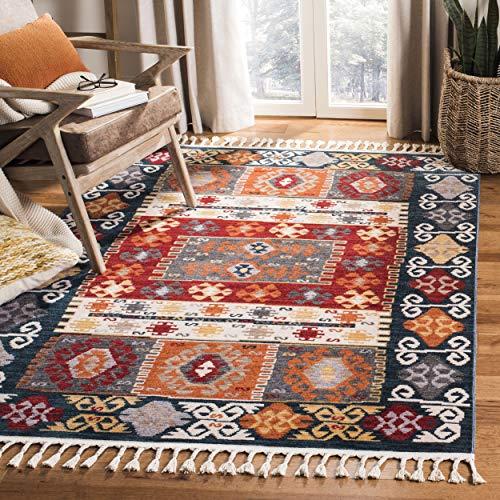 Safavieh Farmhouse Collection FMH847A Boho Moroccan Tribal Tassel Area Rug, 8' x 10', Cream / Navy