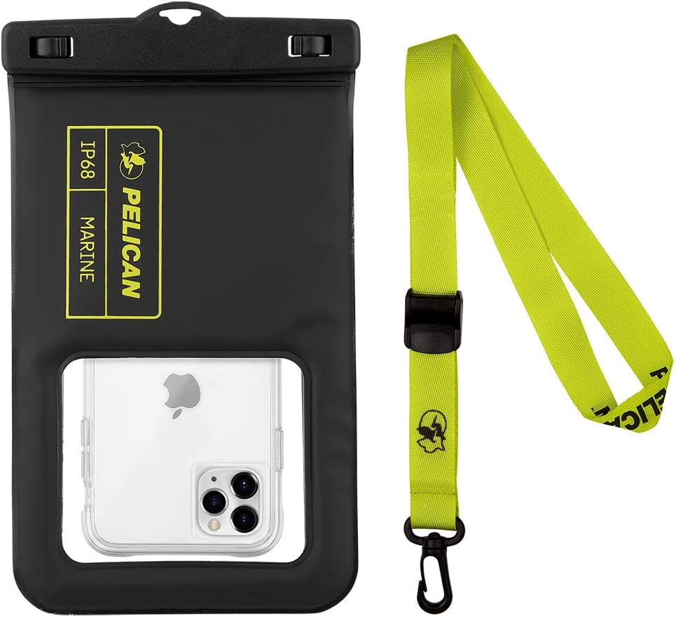 CASE-MATE Pelican - Marine Series Waterproof Floating Pouch XL - Compatibility - Black/Lime