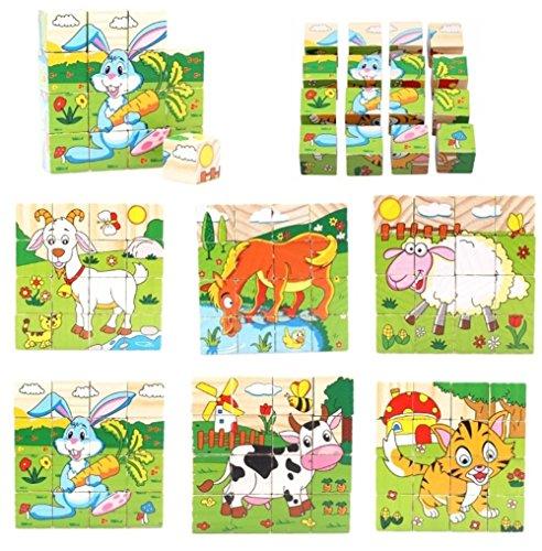 PROW® Bloques de Madera 16 Piezas de Rompecabezas 6 hexaedro Animales Incluyendo Vacas ovejas Cabra de Conejo Caballo Tiger Juguete Seguro y Bloques de construcción no tóxicos para los niños pequeños