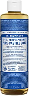 Dr. Bronner's - Pure-Castile Liquid Soap (Peppermint, 16 Ounce) - Made with Organic Oils, 18-in-1 Uses: Face, Body, Hair, Laundry, Pets & Dishes, Concentrated, Vegan, Non-GMO
