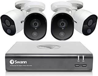 Swann 8 Channel 4 Camera Security System, Wired Surveillance 1080p Full HD DVR 1TB HDD, Indoor/Outdoor, Heat & Motion Dete...
