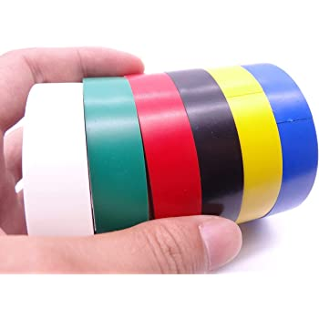 """ETIPL PVC Insulation Electrical Tape 3/4""""X8YardsX0.125mm Set of 6 (Multicolored)"""