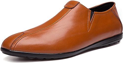 SRY-Chaussures de Mode Personnalité pour Hommes Mocassins de Conduite Conduite Décontracté en Cuir véritable Mocassins Confortables et de Couleur Unie et Confortables (Couleur   Marron, Taille   37 EU)