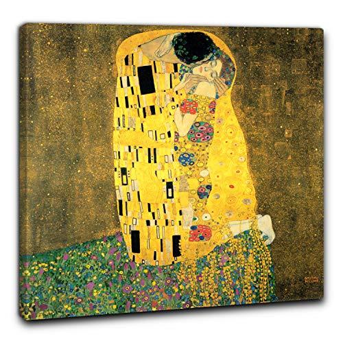 Niik Quadro + Telaio (BC) Il Bacio di Gustav Klimt 60x60x1,7 cm Falso d'autore Stampa su Tela