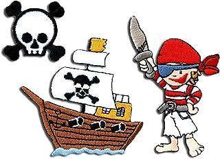 Pirat 5,4 cm 6 cm Bügelbild Aufnäher Applikation Piratenschatzkarte