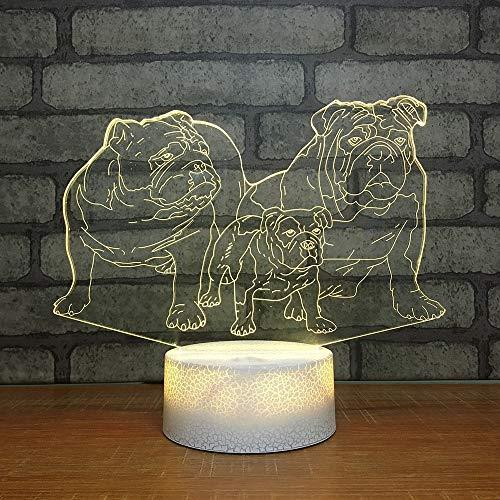 LLZGPZXYD Chevet Sommeil Luminaires Décor Coloré Visual 3D LED Enfants Cadeaux Chiot Famille Modélisation Nuit Lumière USB Animal Table Lampe