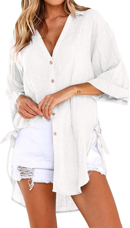 Womens Oversized Button Down Shirts Linen Cotton Blouse 3/4 Sleeve Roll Up V Neck Drawstring Shirt Plain Tops