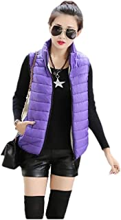 Womens Tank Top Stand Collar Waistcoat Outer Quilted Winter Slim Tank Tops