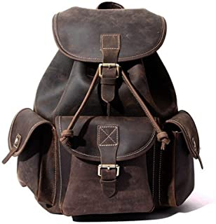 Mens Leather Bag Vintage Full Grain Leather Backpack School Large Capacity Fashion Backpack Trekking Bag Bag (Color : Brown, Size : S)