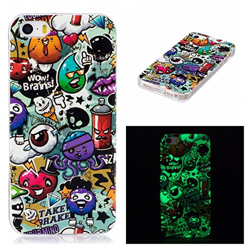 OnlyCase Cover per iPhone 5 / iPhone 5S, Premium Elegante Effetto Luminoso TPU Morbida Silicone Gel Elegante Custodia con,Nottilucente Verde Glow in The Dark Custodia Antiurto, Graffiti