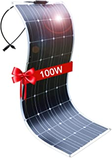 DOKIO Solar Panel 100W 12V Bendable Semi-Flexible Thin Film Monocrystalline Lightweight for Caravan RV Boat Camper Any Other Irregular Surface