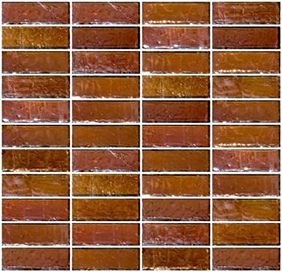 Susan Jablon Mosaics - 1x3 Inch Amber Brown Iridescent Glass Subway Tile Reset In Stacked Layout