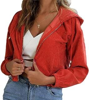 Howely Women's Short Hood Zip-Front Corduroy Casual Weekend Baseball Jackets