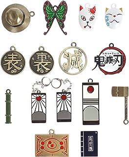 CoolChange Set di Gioielli di Kimetsu No Yaiba con 13 ciondoli & 2 Orecchini | collanina di Demon Slayer / Portachiavi | M...