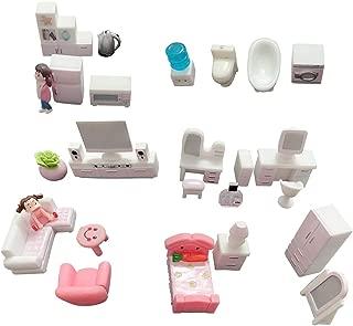 SIX VANKA 30pcs Miniature Furniture Sets for Modern Bedroom Living Room Kids Dollhouse DIY Pretend Play Doll House Childrens Toys Girls Gifts