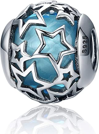 Vintage Starry Night Sky Twinkling Star Charm 925 Sterling Silver Blue Enamel Bead Fit Bracelet Necklace