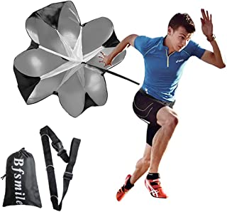 "Bfsmile Running Speed Training 56"" Parachute with Adjustable Strap, Free Carry Bag. Speed Chute Resistance Running Parachute for Kids Youth and Adults (1 Umbrella)"